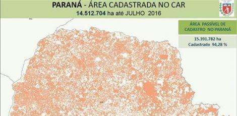 95% dos imóveis rurais do Paraná estão inseridos no Cadastro Ambiental Rural
