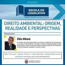 Direito Ambiental é tema de palestra que a Escola do Legislativo promoverá no próximo dia 7 de março