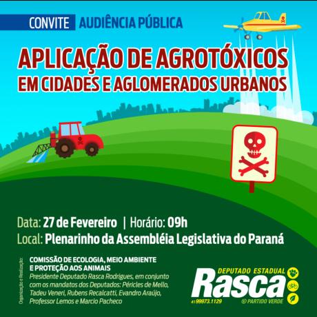 Assembleia debaterá aplicação de agrotóxicos em torno de cidades e aglomerados urbanos
