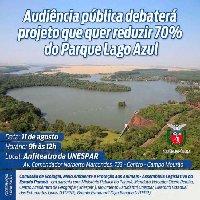 Audiência pública debaterá projeto que pretende reduzir 70% do Parque Lago Azul